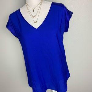 Express Blue V- Neck Rolled Sleeve Blouse